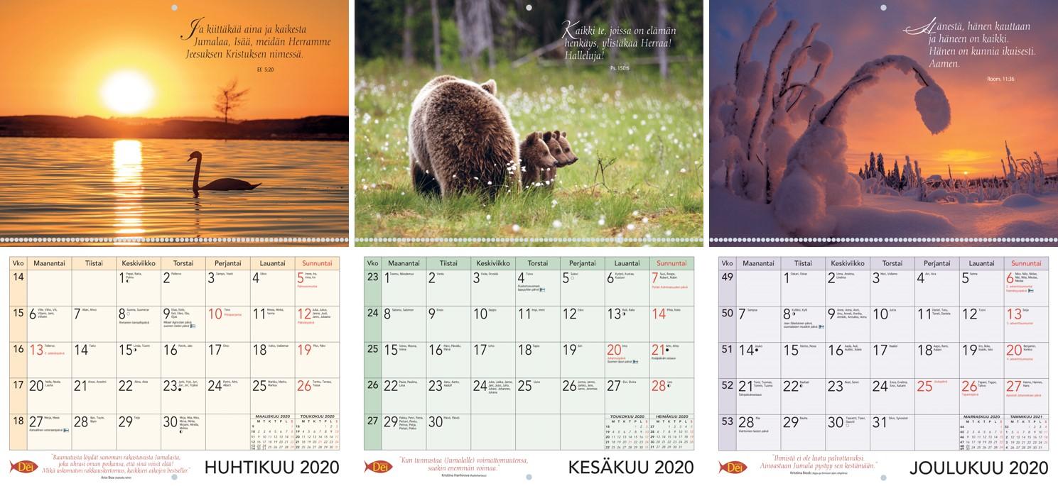 Kuvia vuoden 2020 kalenterista